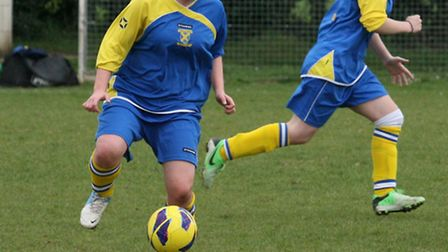 Match action from St Albans City Ladies' 1-0 win over Harvesters. Picture: James Whittamore