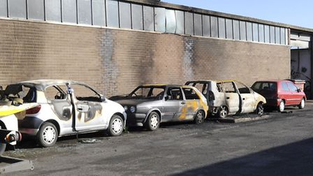 Arson attack at Enfield Autos, St Neots,