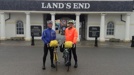 Tim Rhodes (left) and Trevor Tiller who are on their way from Land's End to John O'Groats.