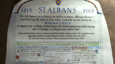 Parchment signed in St Albans 800 years after historic meeting in the city led to the creation of Ma