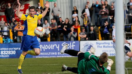 Lee Chappell can not believe that his shot did not go into the back of the net. Picture: Leigh Page