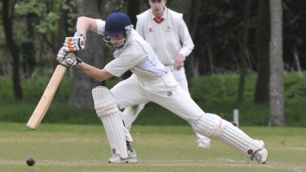 Warboys batsman Daniel Wright in action against Godmanchester Town on Saturday. Picture: Helen Drake