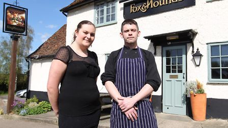 Kelly Elston, waitress, and Head Chef Chris Woods outside The Fox and Hounds pub in Barley