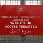 An Arabic sign placed nearby Bassingbourn Barracks