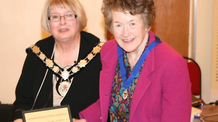 HarpendenTown Mayor Cllr Rosemary Farmer with Betty Russell