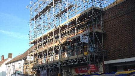 Scaffolding over the Herts Ad office in St Albans
