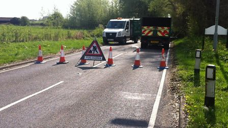The road between Godmanchester and The Offords is blocked due to a fallen tree. Picture: HELEN DRAKE