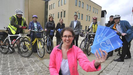 Launch of Huntingdonshire Cycling Festival, at Pathfinder House, with (front) Enviromental Education