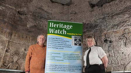 Chief Inspector Donna Pierce is pictured with Royston Cave Manager James Robinson within Royston Cav