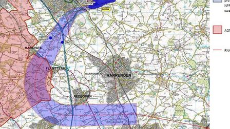 Luton Airport is suggesting changes to a flight path above St Albans district. This shows the propos