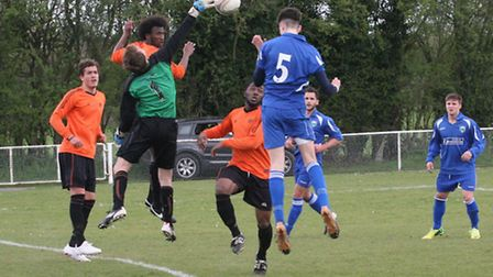 Tommy Smith scores equaliser for London Colney. Picture: James Whittamore