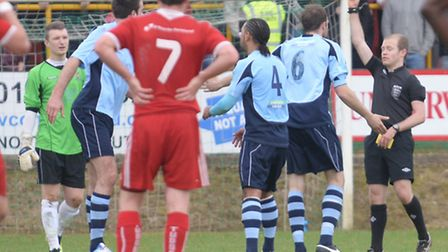 Ben Martin is shown a red card. Picture: Bob Walkley