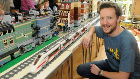 Russell Chapman who owns the LEGO collection on display