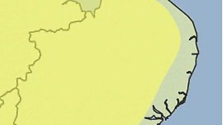 Met Office say heavy rain will hit the area in the yellow zone.