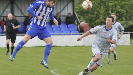 Joe Furness uses his head in the 1-1 draw against Kirkley & Pakefield last Saturday. Picture: Helen