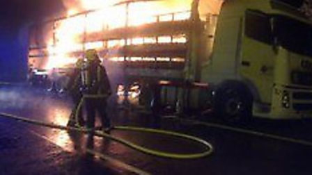 Firefighters extinguished a fire in a lorry carring rubber and plastic. Picture: CAMBS FIRE SERVICE