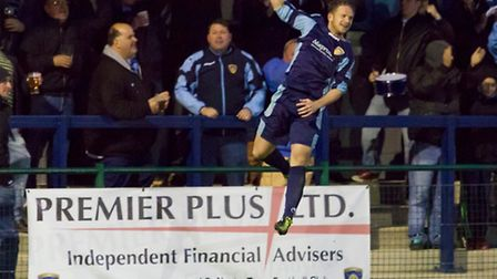 St Neots Town's Shane Tolley celebrates breaking the deadlock against St Ives Town. Picture: Claire