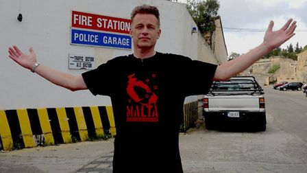 Television presenter and naturalist Chris Packham in Malta, after being released from questioning at