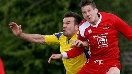 Ben Martin tangles with Ricky Hulbert. Picture: Leigh Page