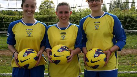Hat-trick heroines Kelly Hancock, Holly Sheridan and Molly Slade. Picture: James Whittamore