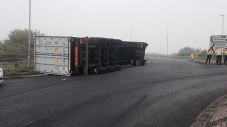 The overturned lorry at Alconbury. Picture:RoadpoliceBCH