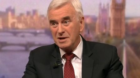 Shadow chancellor John McDonnell appears on BBC's Andrew Marr Show. Photograph: BBC.