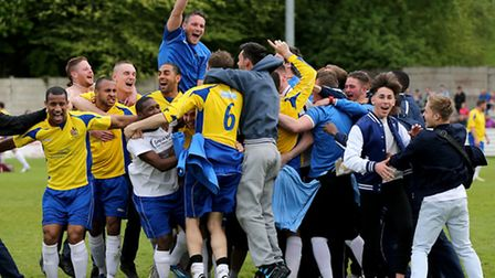 The team celebrate at the final whistle. Picture: Leigh Page