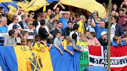 St Albans fans turned up in their groves to see their team earn promotion. Picture: Leigh Page