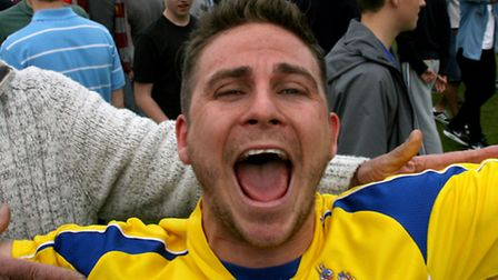Lee Chappell shows his joy at earning promotion. Picture: Leigh Page