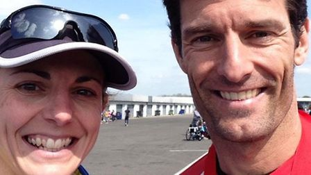 Hannah Turner and Mark Webber at the Wings for Life race at Silverstone.