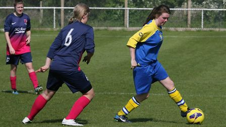 Action from St Albans City ladies' loss to Flitwick. Picture: James Whittamore