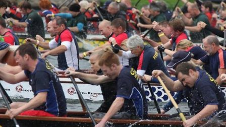 St Neots Dragon Boat Team, in the foreground, are making strides this season.