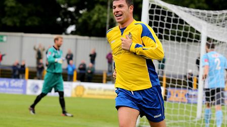 John Frendo happy after scoring the second goal of the game. Picture by Leigh Page