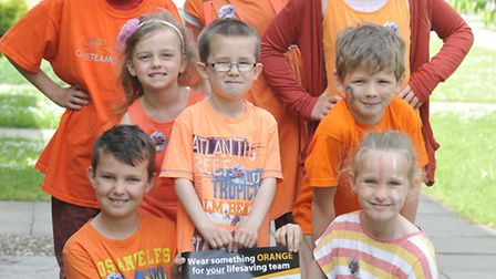 (Front left-right) Kieran, Georgia, Alexander, George, and Grace, and (back left-right) Daniel, Juli