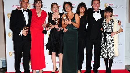 Left to right. Duncan Coates, Kate Scholefield, Sally Benton, Leanne Klein, Davina McCall, Nicky Cam