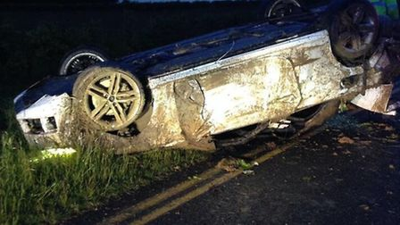 The car which overturned on the B661 between Perry and Buckden. Picture: @BCH ROAD POLICING