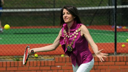 Mayor Annie Brewster in action on the new tennis courts at Greenwood Park