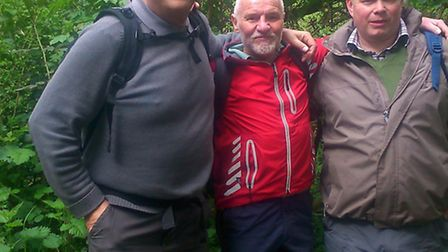 Alan Weston, left, with fellow walkers Dave, from Ware, and Andy, from Cottered