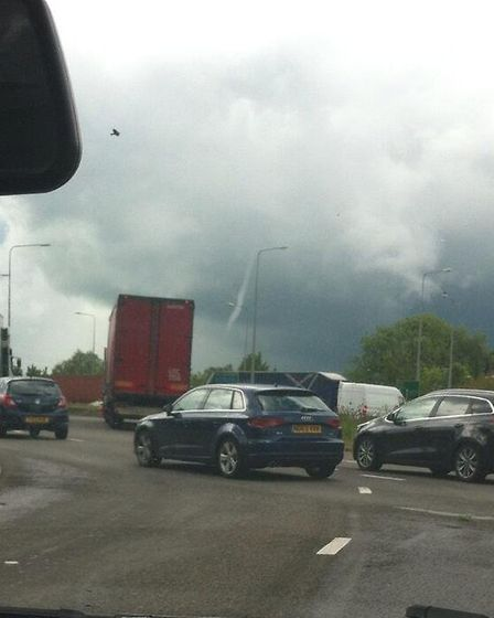 Catherine Parkinson captured this picture of the funnel cloud near Huntingdon