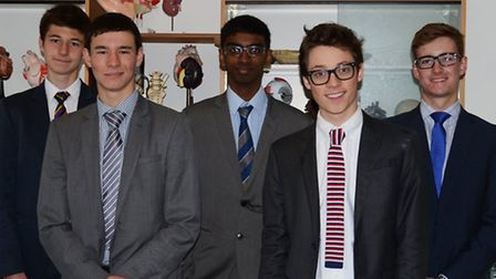 Eric Edmond (middle) with his fellow St Albans School competitors