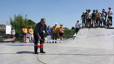 Foxton skatepark is officially opening by Foxton Parish Council chairman Nigel Oakley
