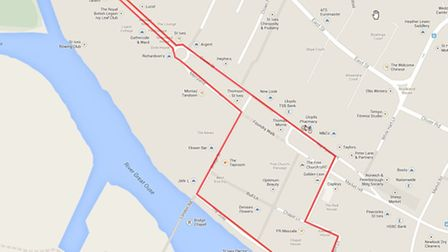 The route of the St Ives race on June 14.
