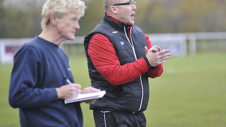 Seb Hayes, right, with Paul Swannell who has joined the coaching staff at St Ives Town. Picture: Hel