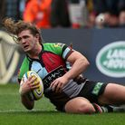Luke Wallace of Harlequins goes over to score the teams first try during the Aviva Premiership Rugby