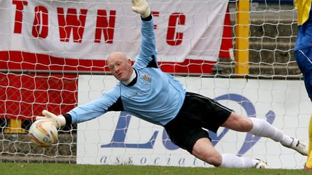 Paul Bastock at full stretch is unable to keep the ball out of the net. Picture: Leigh Page