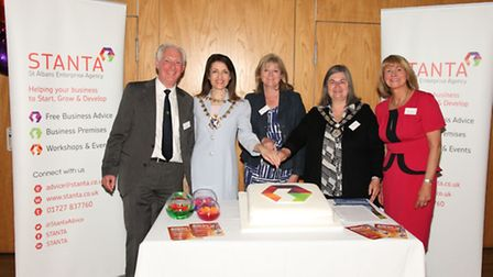 STANTA Executive Director Mel Hilbrown, St Albans Mayor Annie Brewster, Harpenden Town Mayor Mary Ma