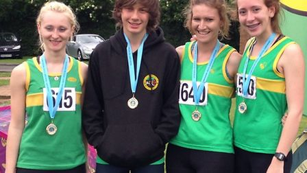 Rebecca Pedley, Ryan Boden, Siobhan Skinner and Ella Blake all won golds at the Cambridgeshire Athle