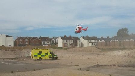 A man had to be airlifted to a London hospital after falling 25ft from a building on Ridgmont Road