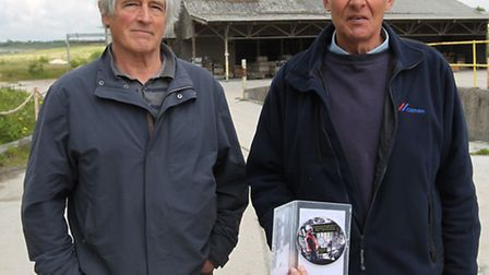 Filmmaker David Hope and John Drayton pictured with his DVD at Barrington quarry