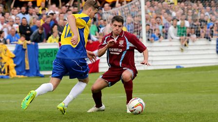 David Keenleyside putting the Chesham defence under pressure. Picture: Leigh Page
